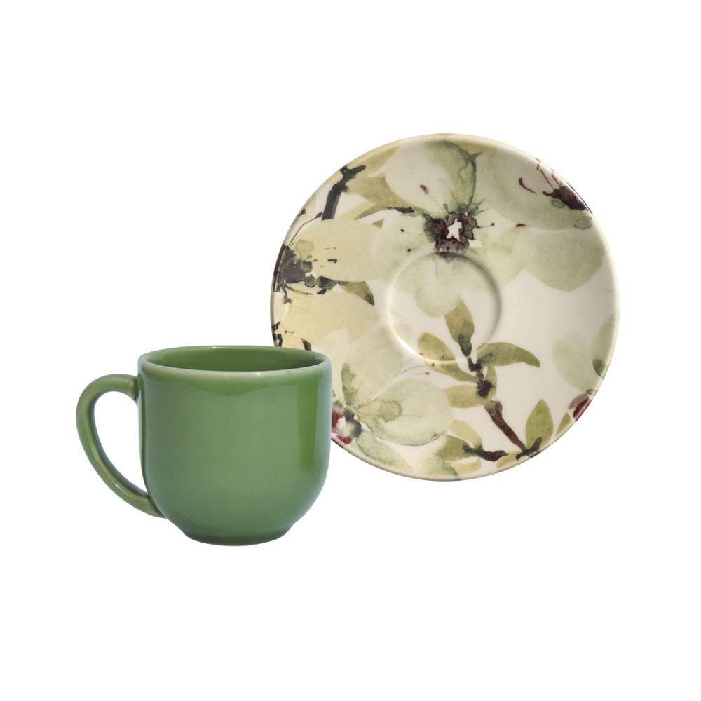 Jogo de 6 Xícaras de Café com Pires 112ml - Coup Petals