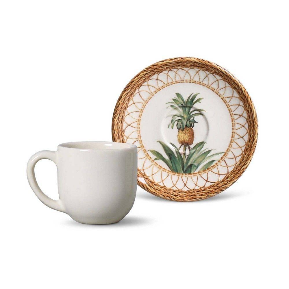 Jogo de 6 Xícaras de Café com Pires 112ml - Coup Pineapple Natural