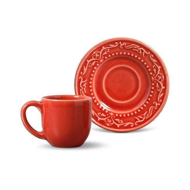 Jogo de 6 Xícaras de Café com Pires 72ml - Acanthus Vermelho