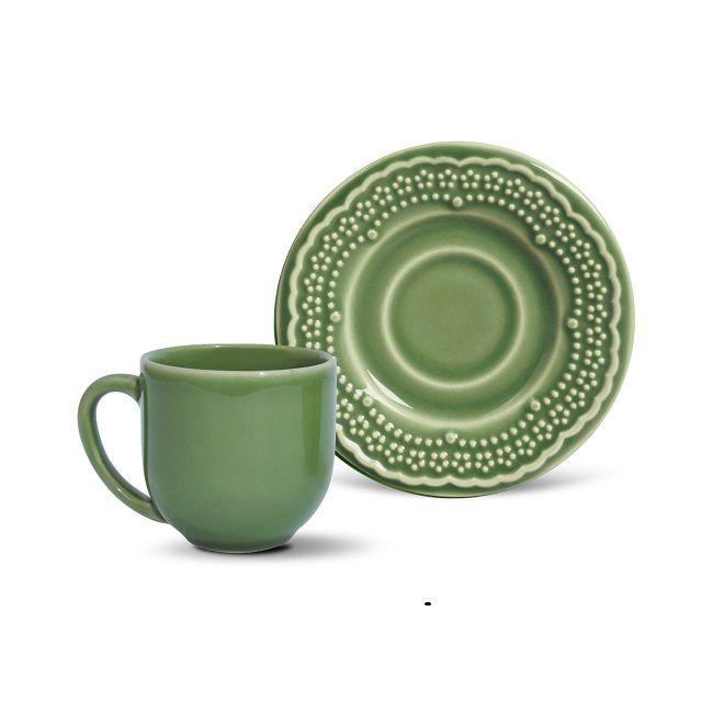Jogo de 6 Xícaras de Café com Pires 72ml - Madeleine Verde Sálvia