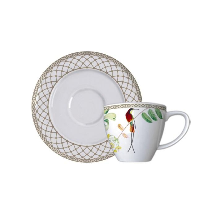 Jogo de 6 Xícaras de Café com Pires Bela Fauna 100ml Germer Porcelanas