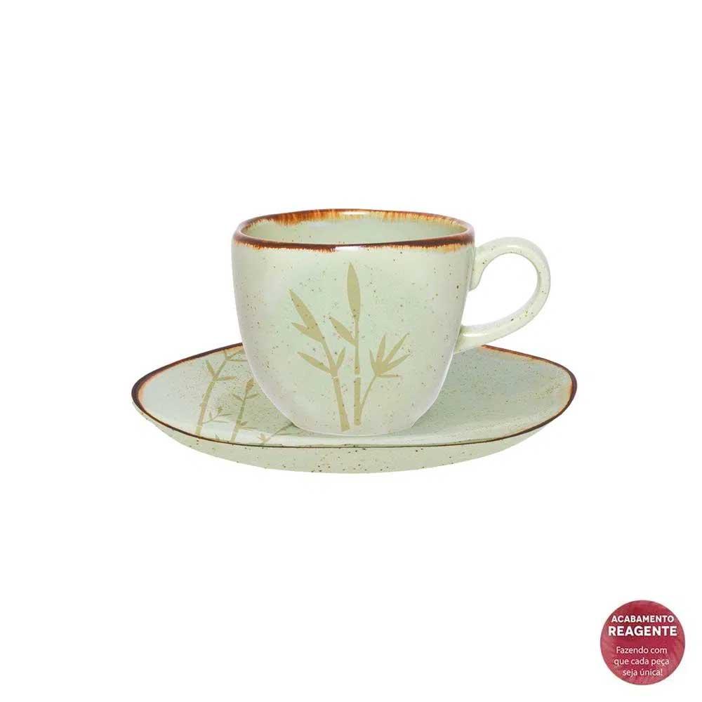 Jogo de 6 Xícaras de Café com Pires Ryo Bambu 75ml Oxford