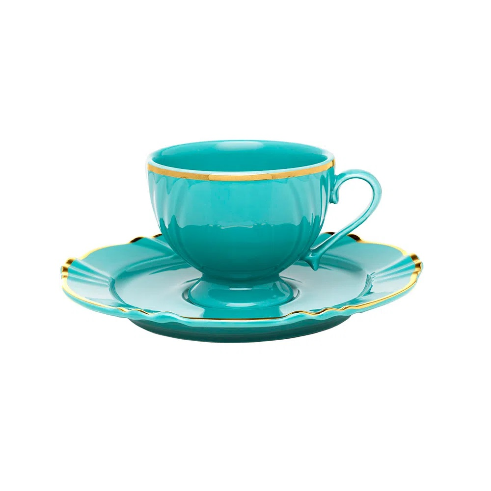 Jogo de 6 Xícaras de Café com Pires Soleil Aurora 75ml Oxford