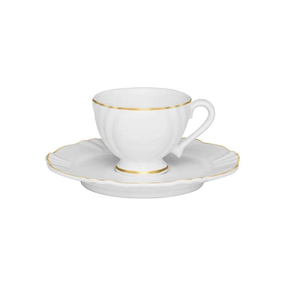 Jogo de 6 Xícaras de Café com Pires Soleil Victória 75ml Oxford