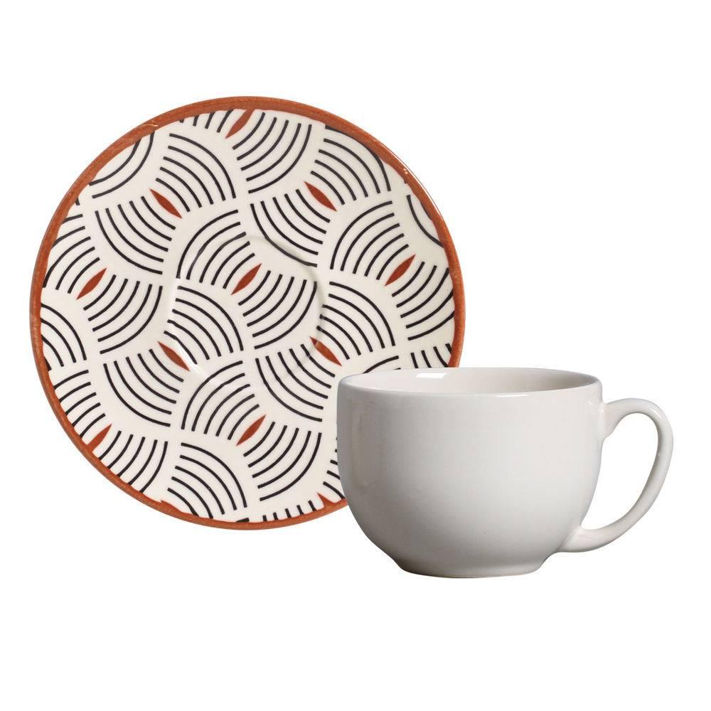 Jogo de 6 Xícaras de Chá com Pires 198ml - Coup Geometria