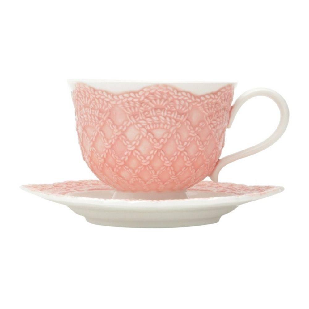 Jogo de 6 Xícaras de Chá com Pires de Porcelana Givemy Rosa Claro 220ml