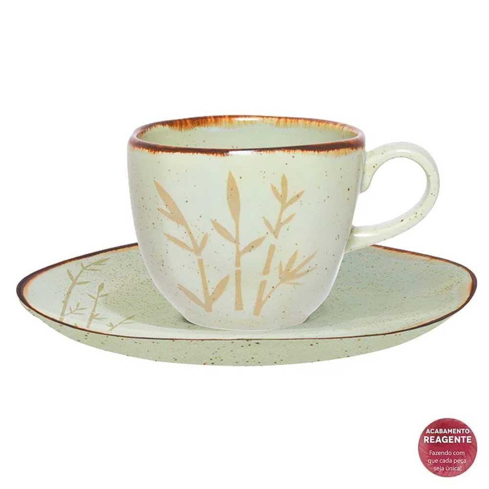 Jogo de 6 Xícaras de Chá com Pires Ryo Bambu 220ml Oxford