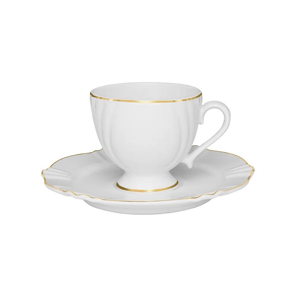 Jogo de 6 Xícaras de Chá com Pires Soleil Victória 200ml Oxford