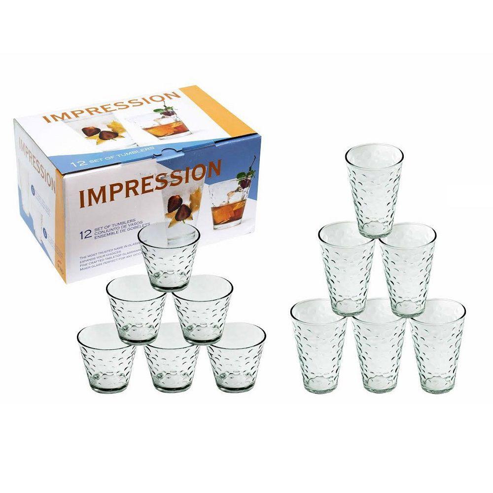 Jogo de Copos de Vidro Impression 12 Peças