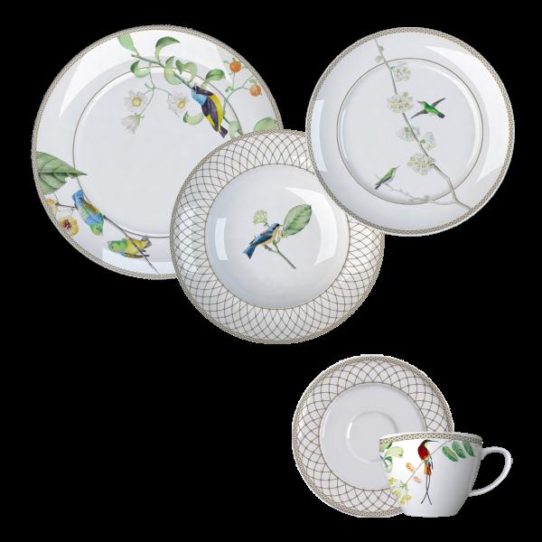 Jogo Jantar e Chá Bela Fauna 30 Peças Germer Porcelanas