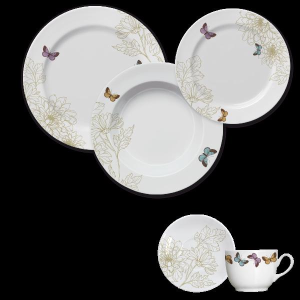 Jogo Jantar e Chá Capri Milão 30 Peças Germer Porcelanas