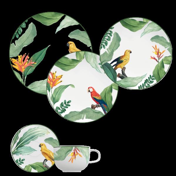 Jogo Jantar e Chá Convexa Natureza 30 Peças Germer Porcelanas