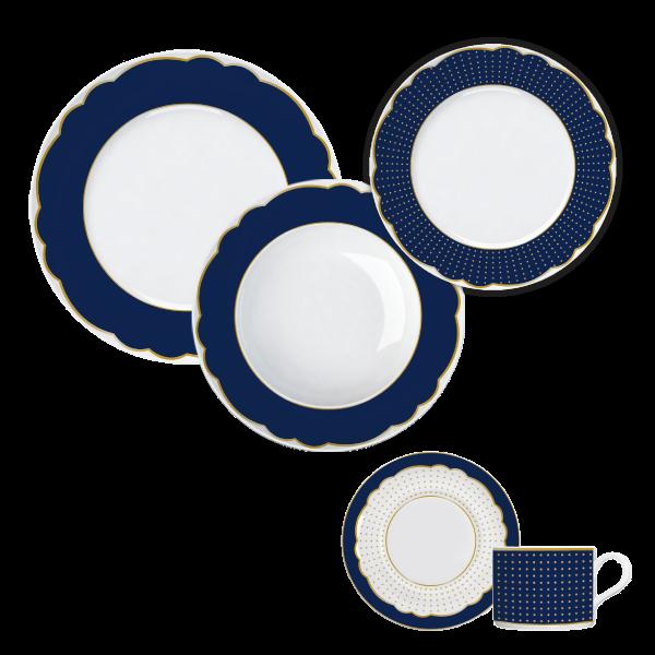 Jogo Jantar e Chá Versa Royal Blue 30 Peças Germer Porcelanas