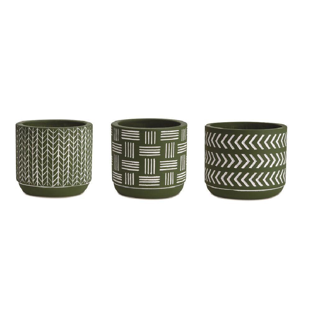 Kit Cachepot em Cimento Verde Oliva 3 Peças Pequeno