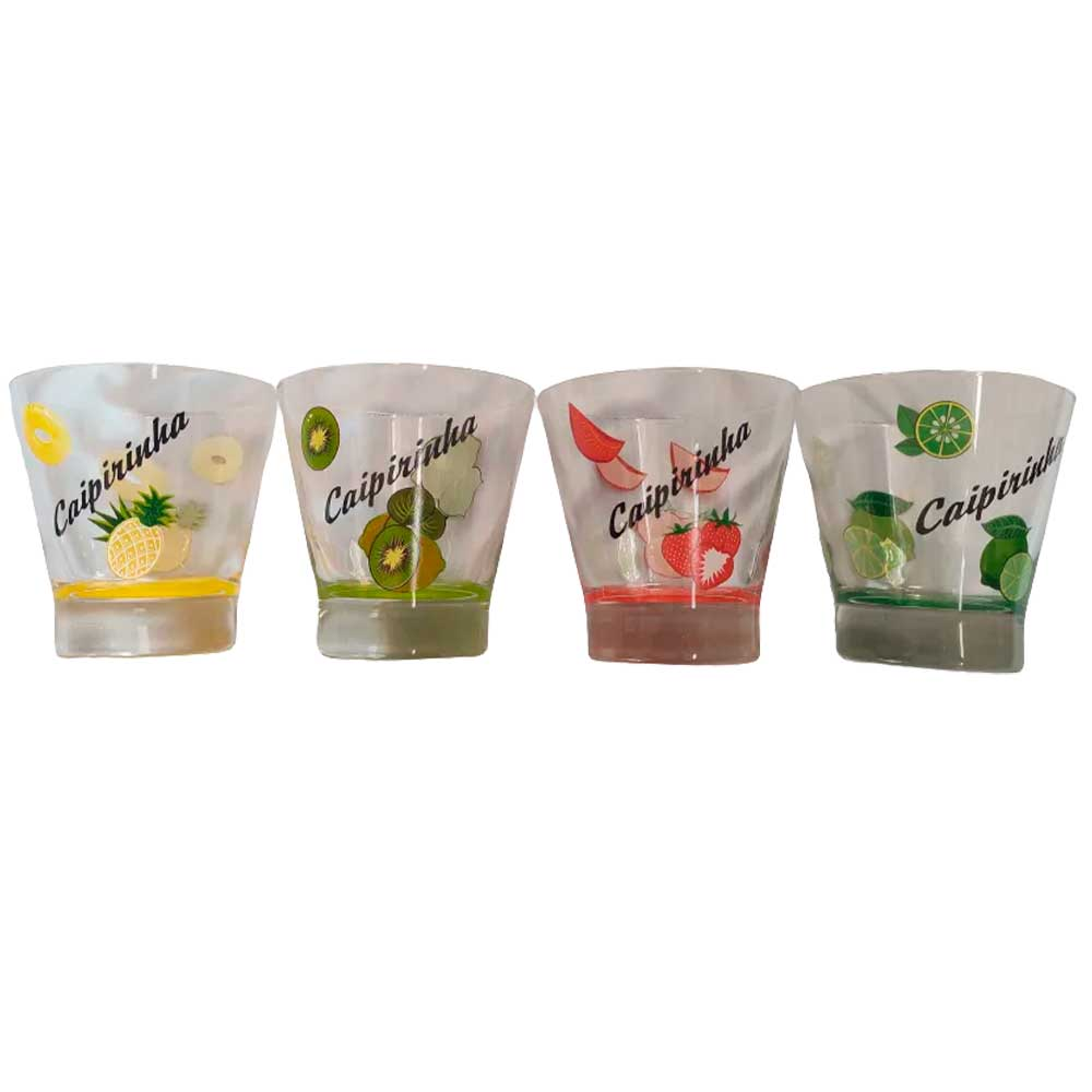 Kit Caipirinha com 4 copos 350ml York Decorados
