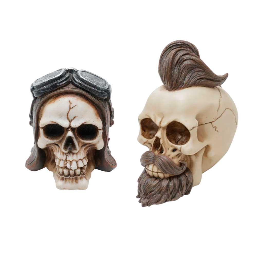Kit Caveiras Decorativas - Hipster e Aviator Helmet