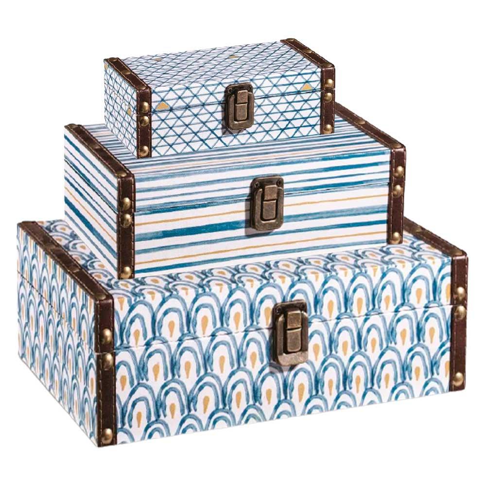 Kit de 3 Caixas Decorativas Estampada