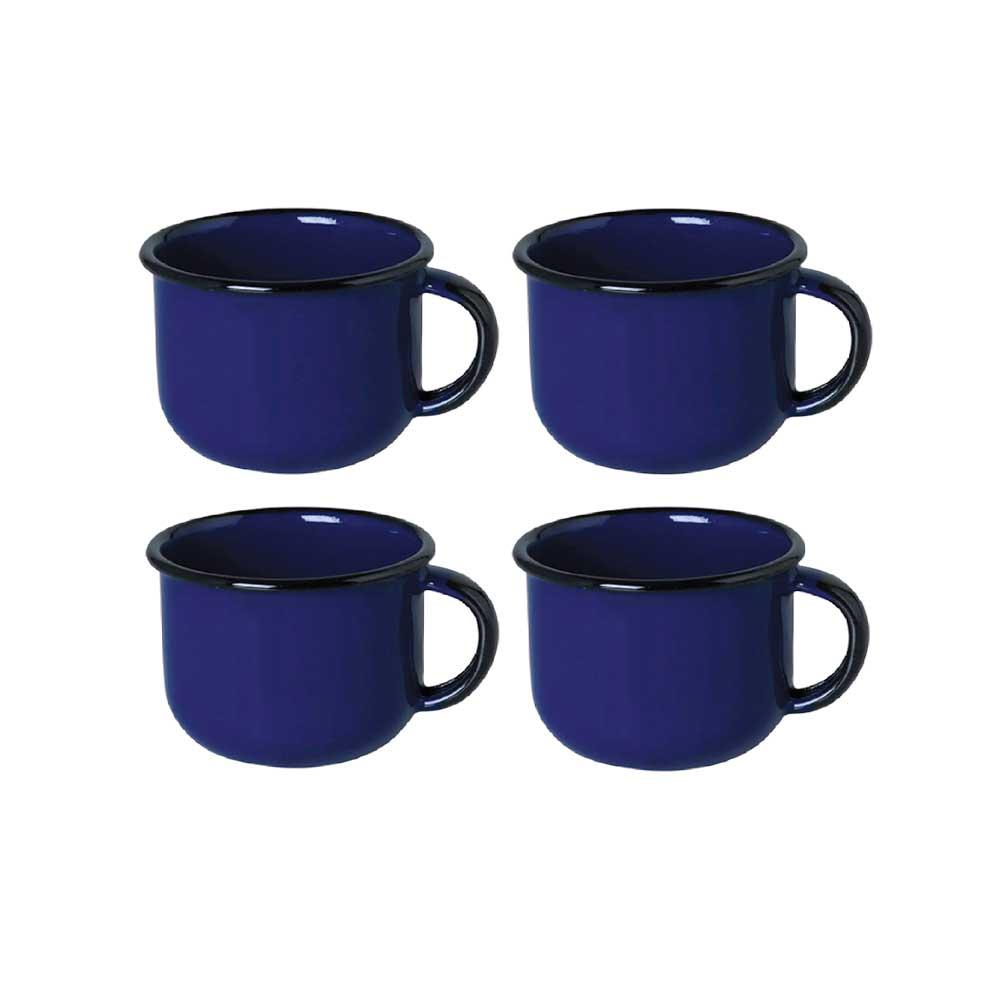 Kit de 4 Xícaras de Café Esmaltadas 90ML - Azul