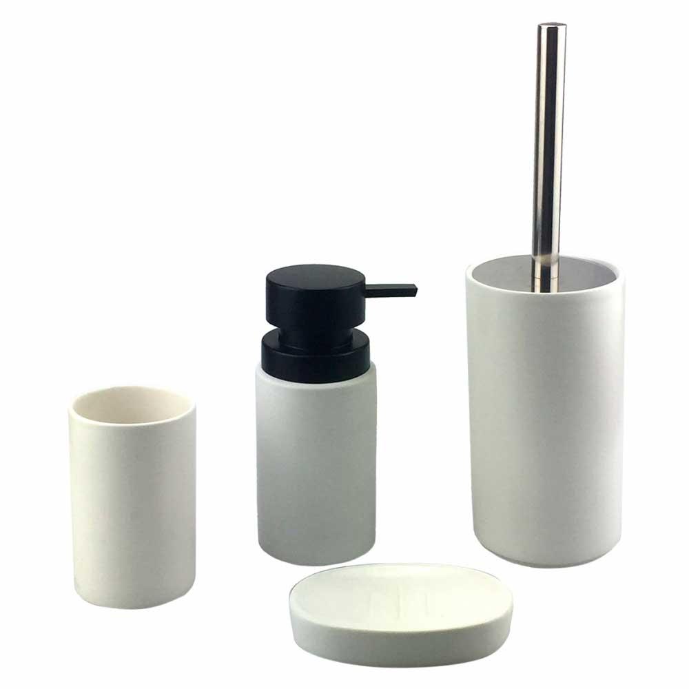 Kit de Banheiro Porcelana Branco e Preto 4 Peças