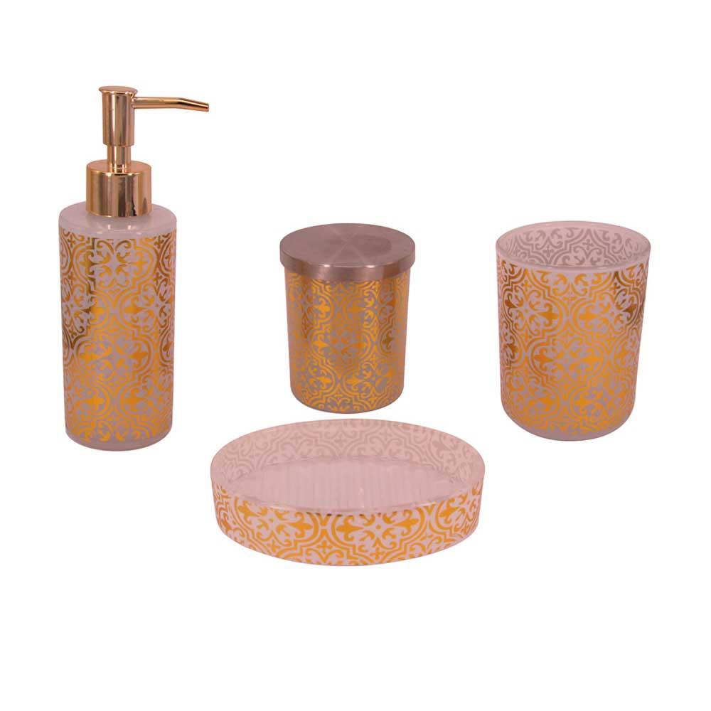 Kit de Banheiro Vidro Dourado 4 Peças