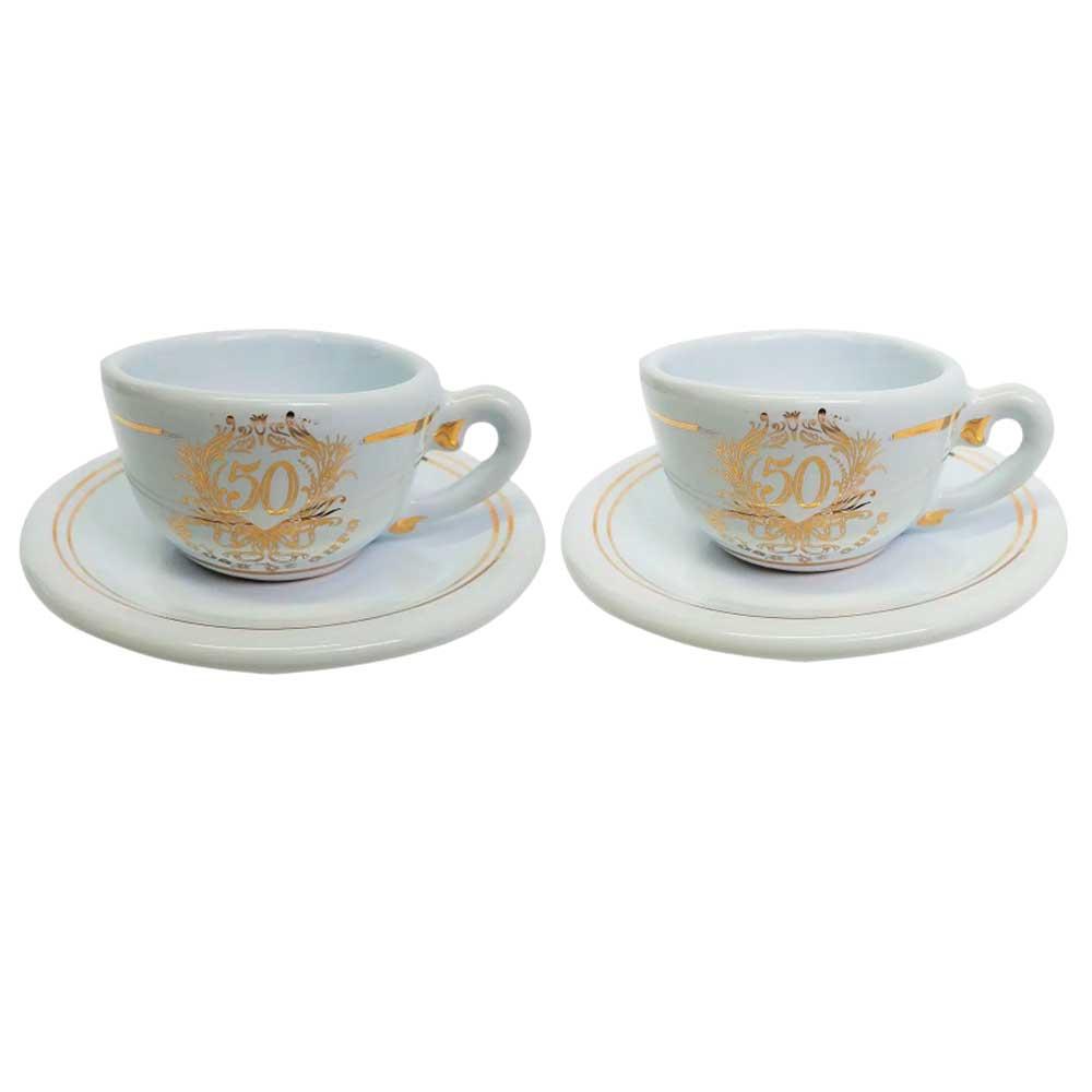 Kit Xícaras de Caféem Cerâmica - Bodas de Ouro