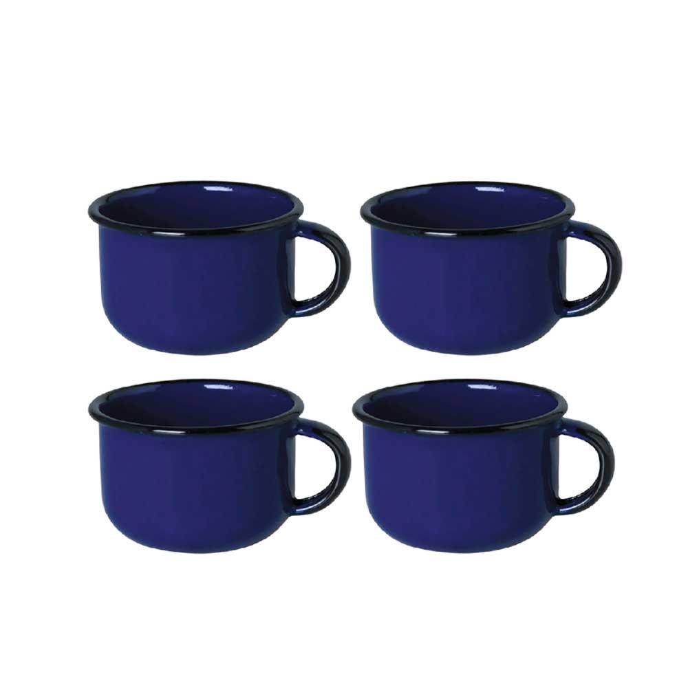 Kit de 4 Xícaras de Café Esmaltadas 180ML - Azul