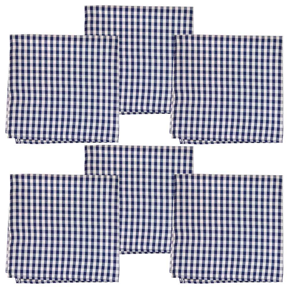 Kit Guardanapos Oxford Quadriculado Azul/Branco