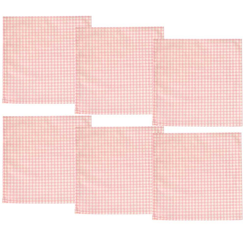 Kit Guardanapos de Tecido Quadriculado Rosa