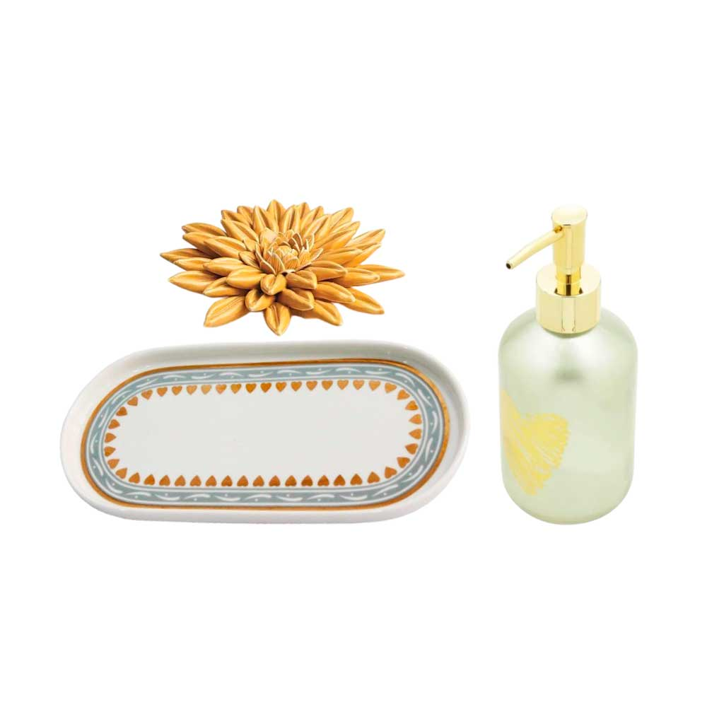 Kit Lavabo Dourado e Amarelo