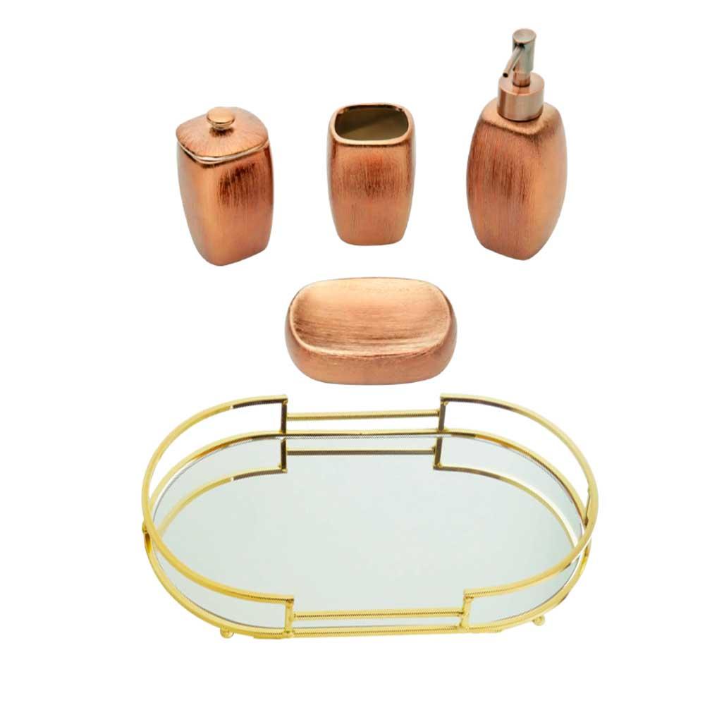 Kit Lavabo Bronze e Dourado