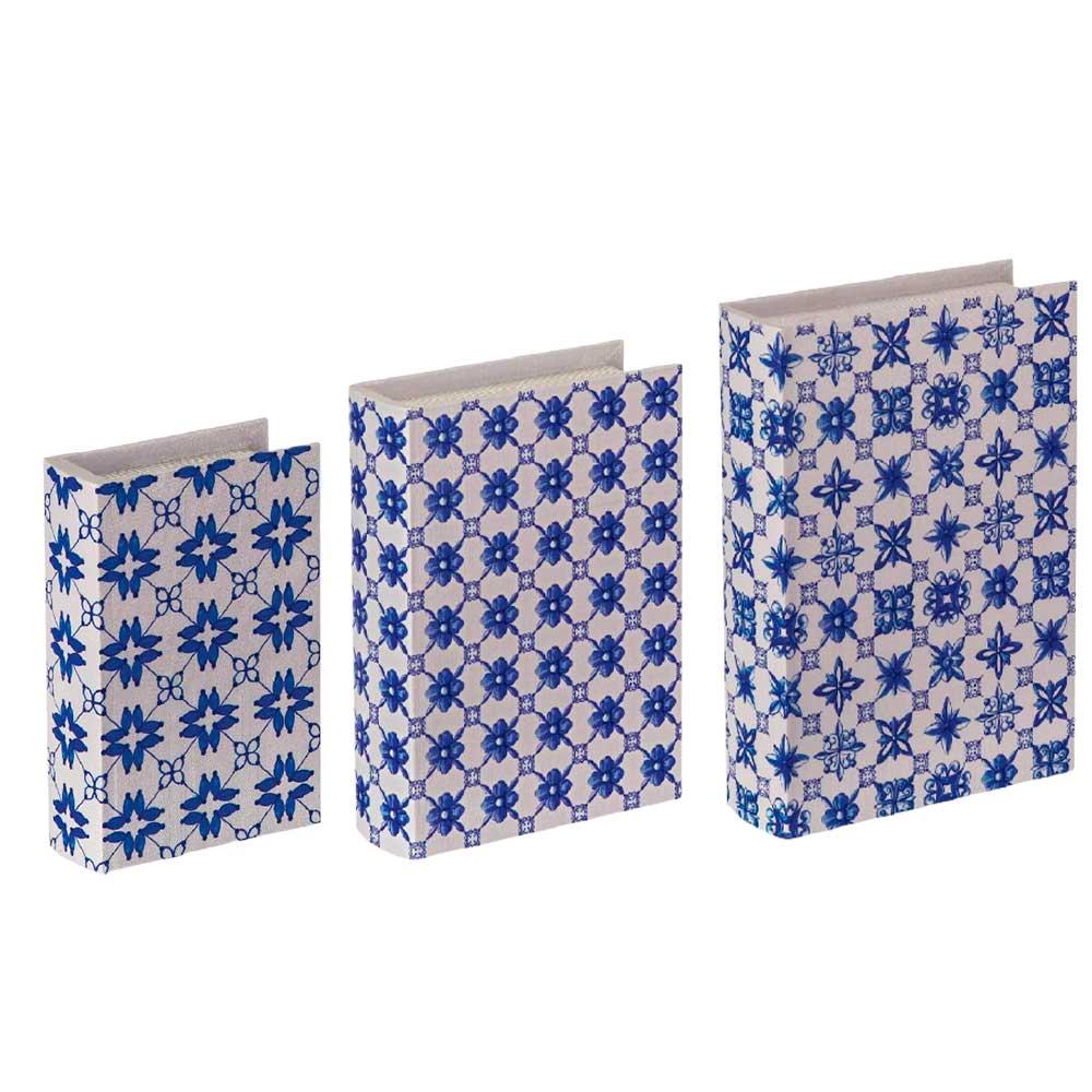 Kit Livro Caixa Decorativo Estampado Azul