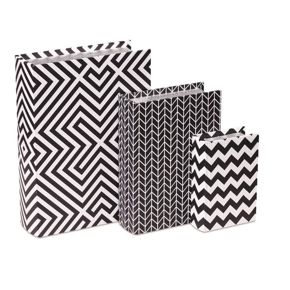 Kit Livro Caixa Decorativo - Estampado Preto e Branco