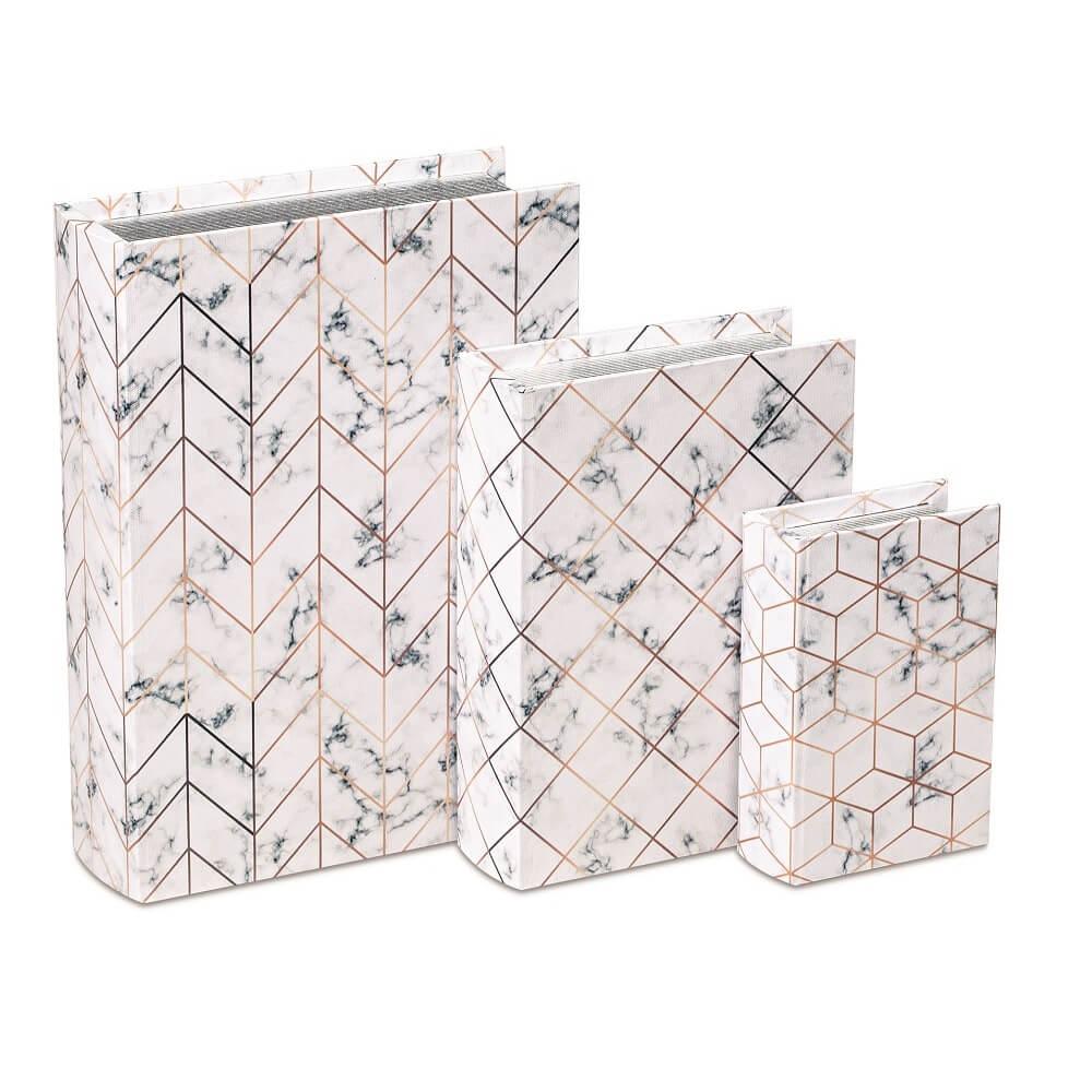 Kit Livro Caixa Decorativo - Marmorizado Branco