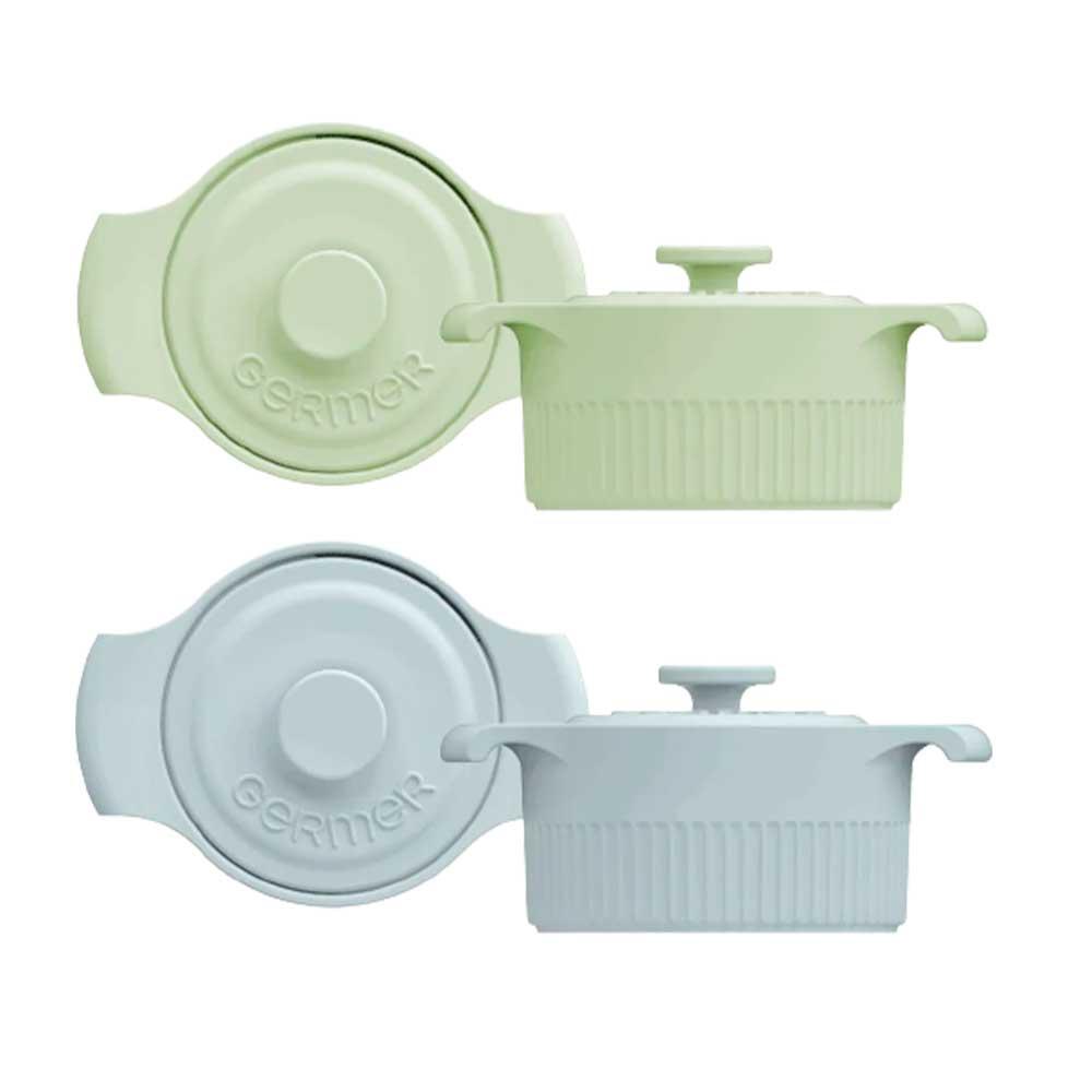 Kit Mini Panelas de Porcelana Verde/Azul 10cm