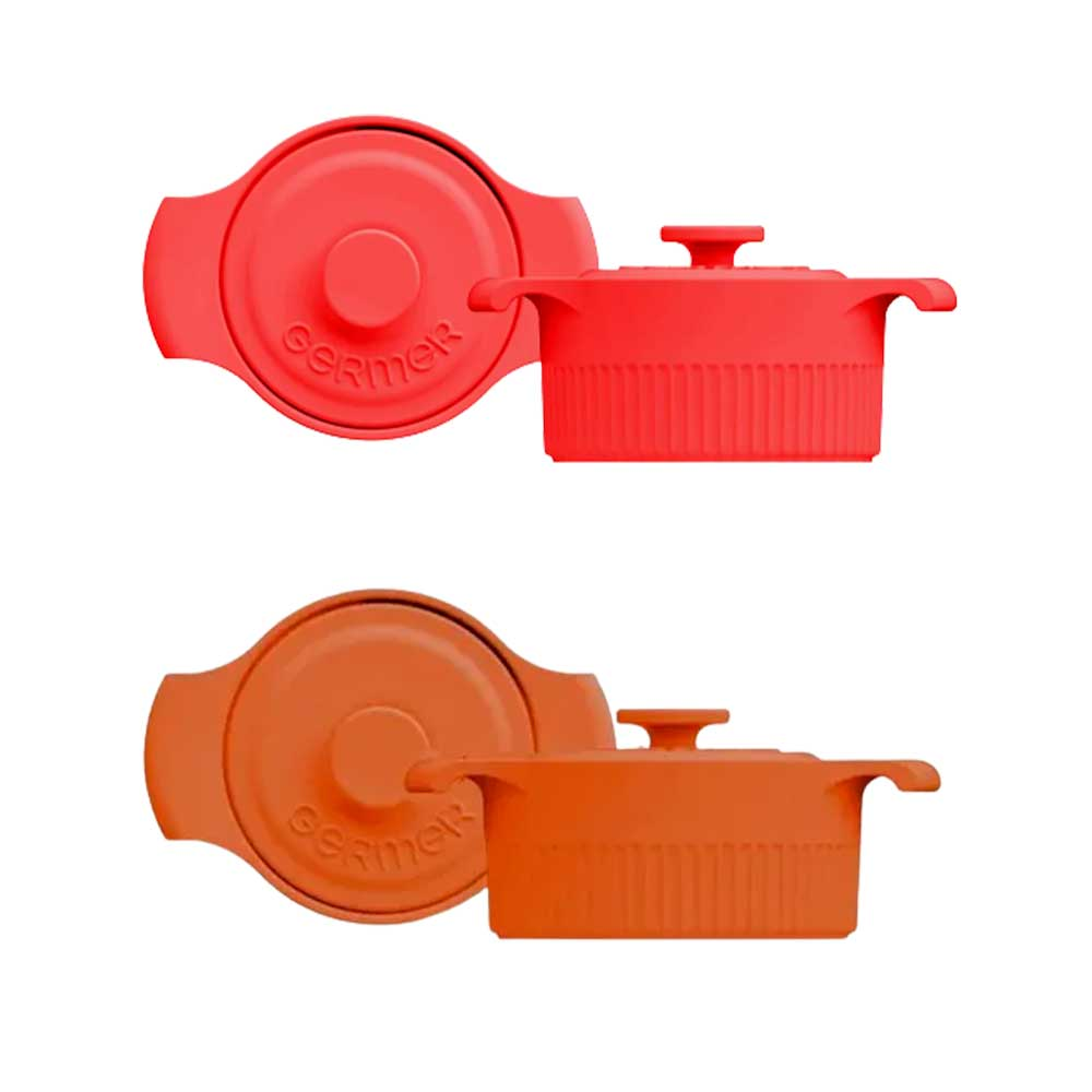 Kit Mini Panelas de Porcelana Vermelha/Laranja 10cm