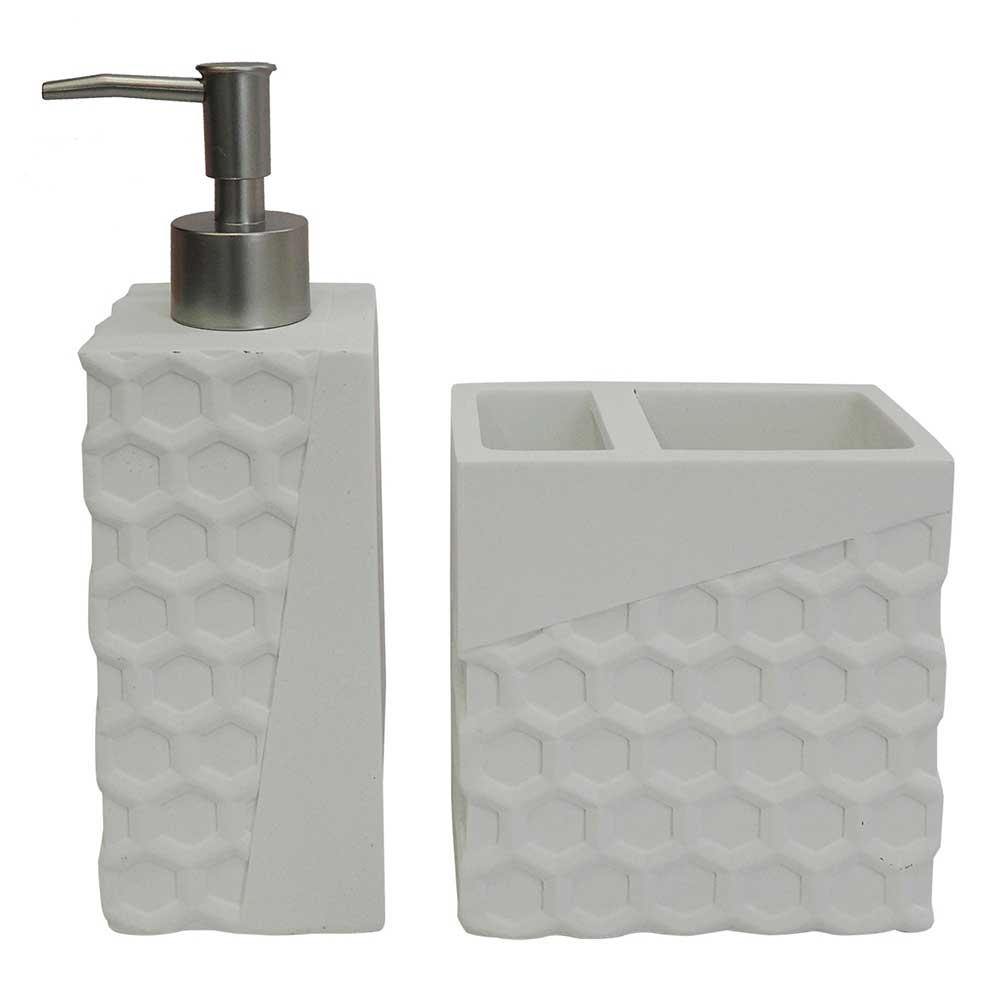 Kit para Banheiro de Resina Branco 2 Peças