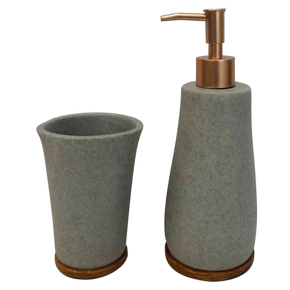Kit para Banheiro de Resina Cinza e Dourado 2 Peças