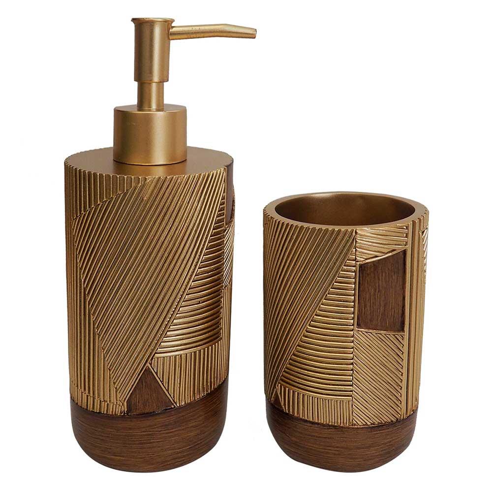 Kit para Banheiro de Resina Dourado e Marrom
