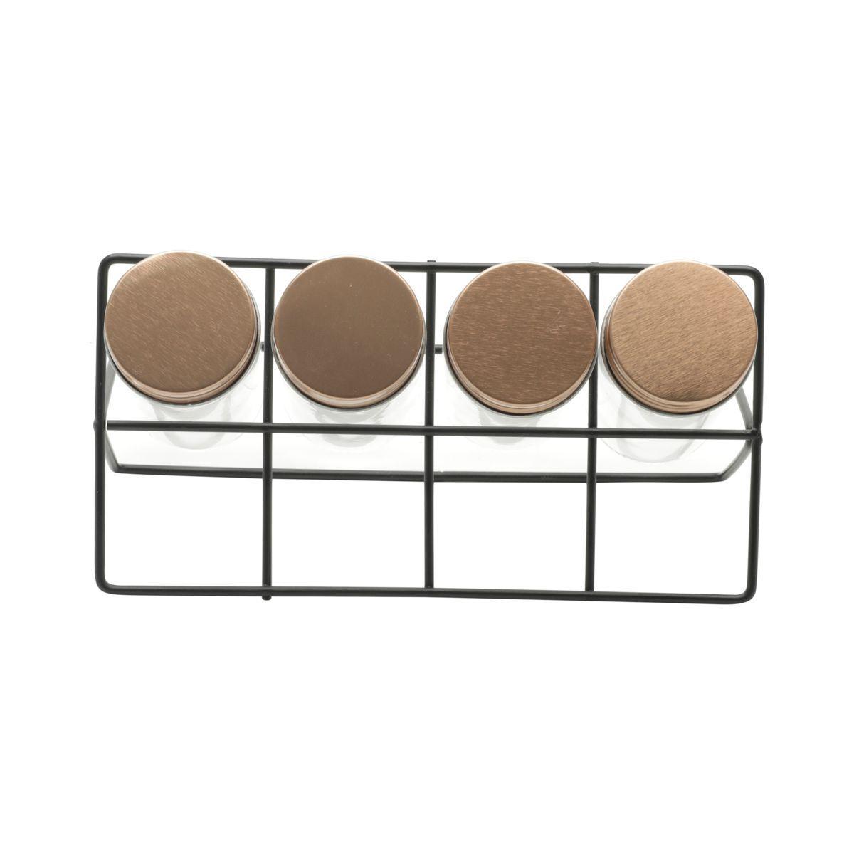 Kit Porta Condimentos em Metal e Vidro 5 Peças