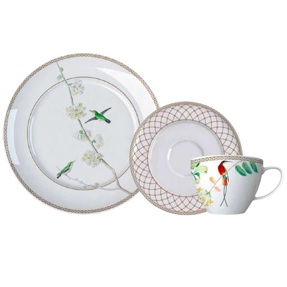 Kit Prato Sobremesa e Xícara de Chá com Pires Bela Fauna Germer Porcelanas