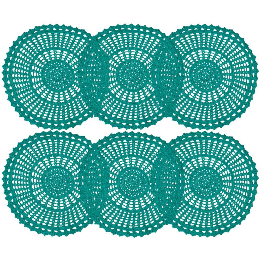 Jogo Americano Crochê Azul Tiffany 33cm