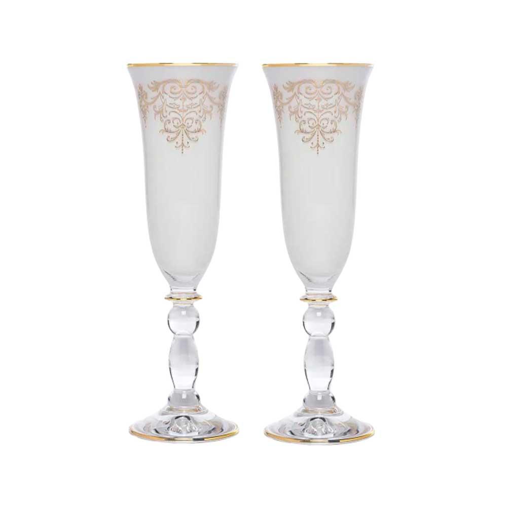 Kit Taças de Champagne Polonesa Ouro 24k
