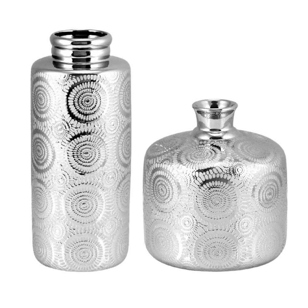 Kit Vasos Decorativos em Cerâmica Prata