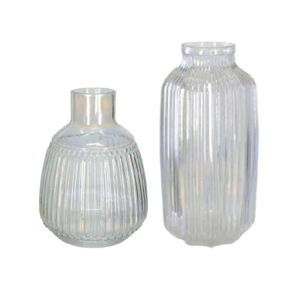 Kit Vasos Decorativos em Vidro Holográfico