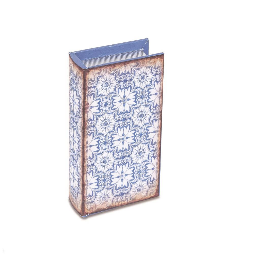 Livro Caixa Decorativo Pequeno - Ladrilhoso Azul e Branco