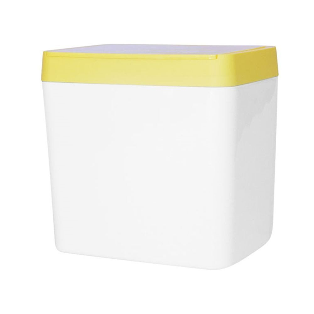 Lixeira Branca com Tampa Amarela