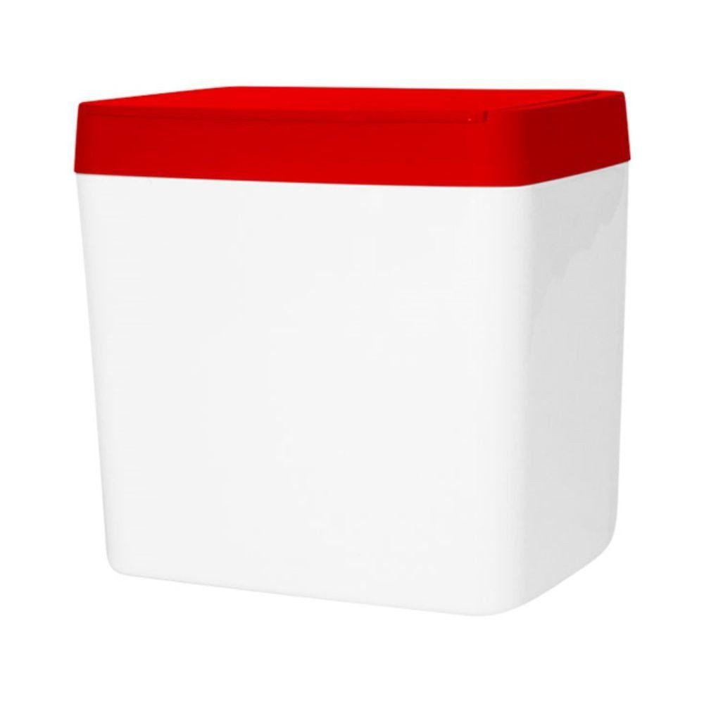 Lixeira Branca com Tampa Vermelha
