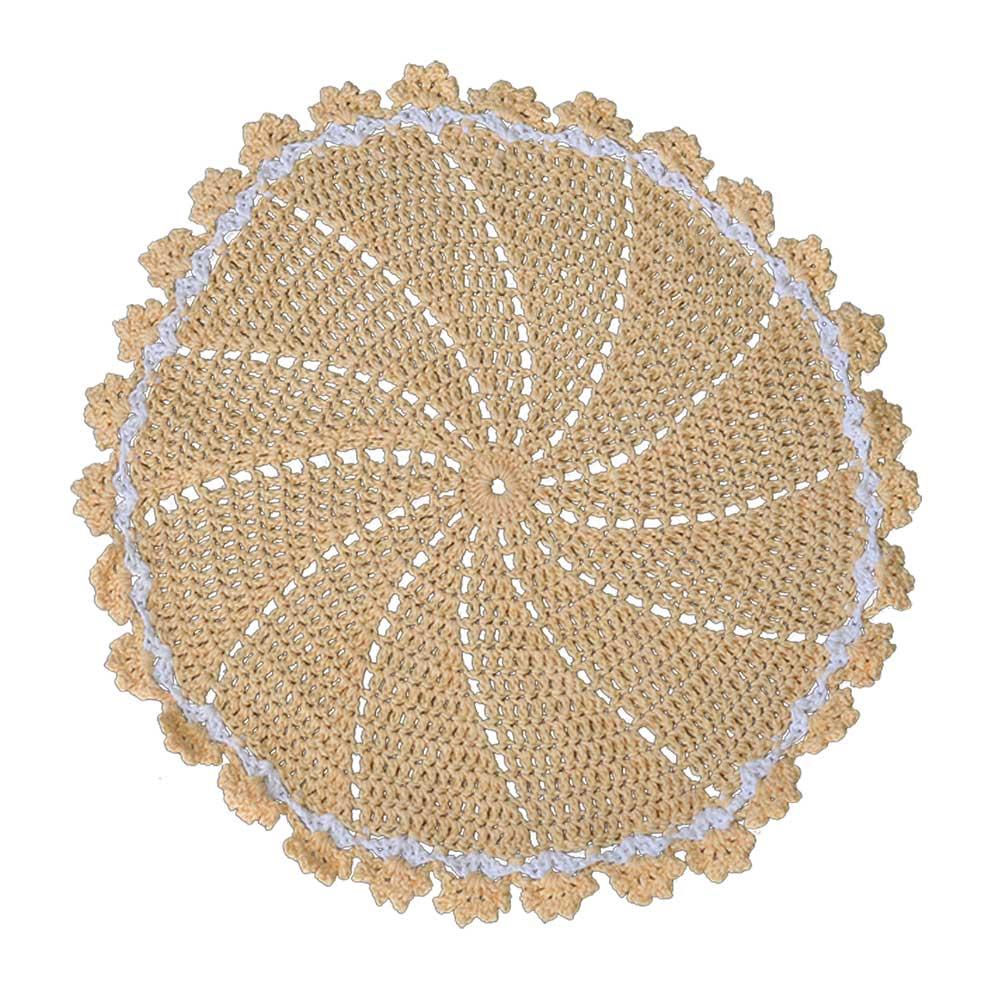 Lugar Americano Crochê Barroco Amarelo 42cm