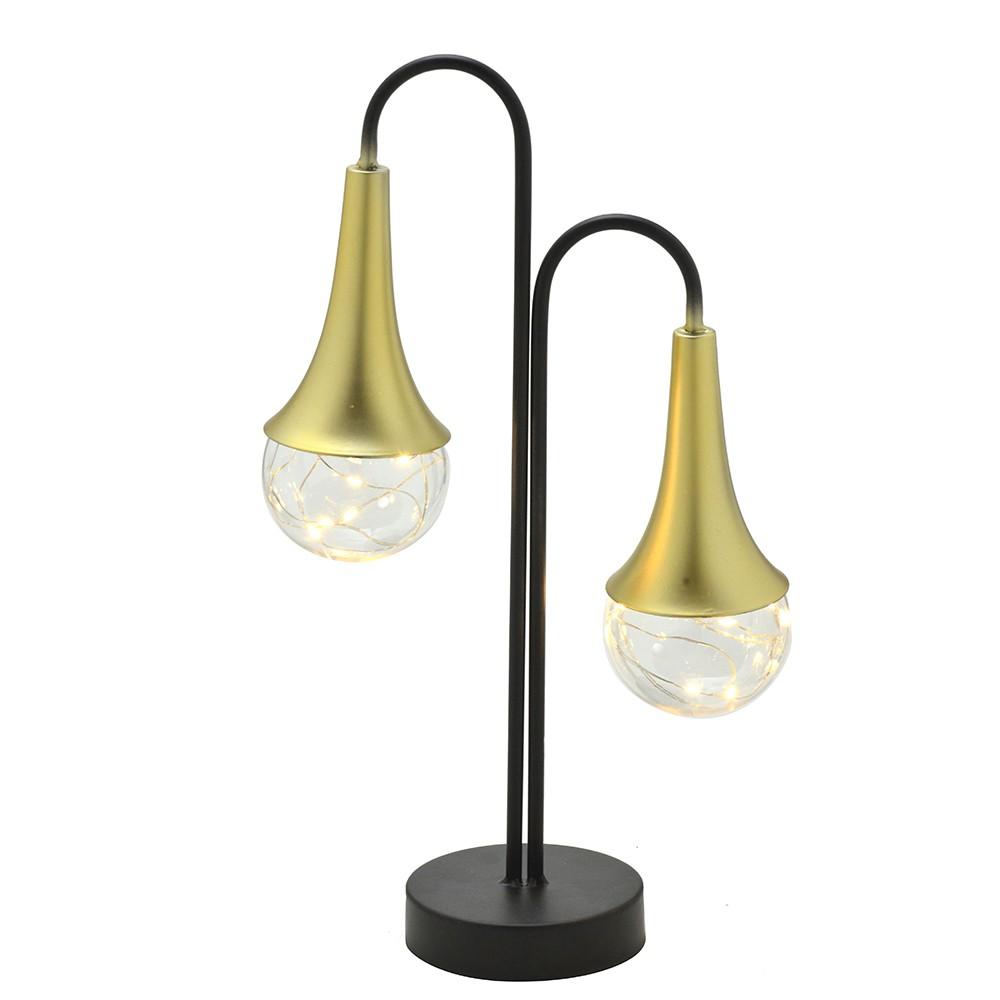 Luminária Decorativa de Metal Preta e Dourado com Led