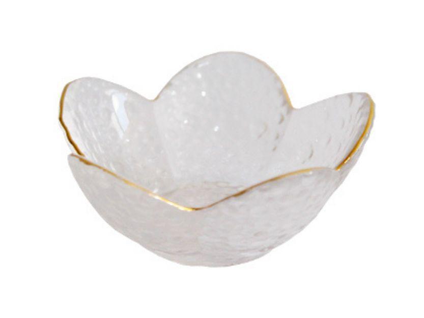 Mini Bowl Formato Flor Decorativo Em Vidro com Borda Dourada 9x9x4,5cm